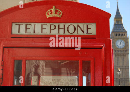 Red Telephone Box with Big Ben in the Background, Parliament Square, London, England, UK - Stock Photo