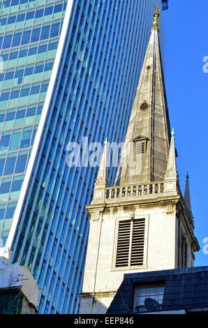 St Margaret Patten's Church, East Cheap, with the walkie talkie building on Fenchurch St in the background London, - Stock Photo
