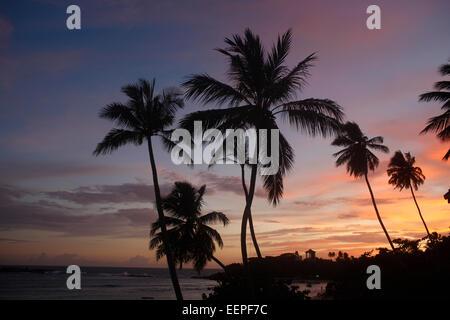 Sunset on the beach in Unawatuna, Sri Lanka - Stock Photo