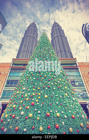 Vintage styled Christmas tree in Kuala Lumpur, Malaysia. - Stock Photo