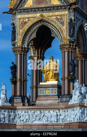 Detail on the Albert Memorial is situated in Kensington Gardens, London, England, - Stock Photo