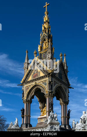 The Albert Memorial is situated in Kensington Gardens, London, England, - Stock Photo