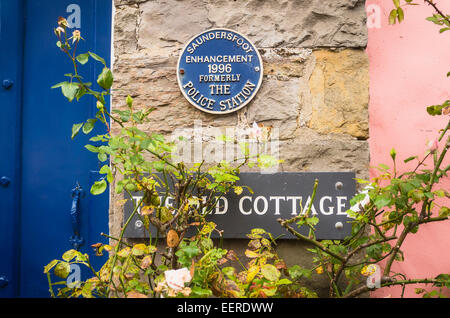 History behind The Old Cottage in Saundersfoot Dyfed South Wales UK - Stock Photo
