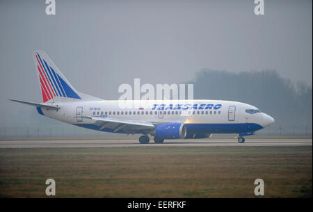 Pardubice, Czech Republic. 21st Jan, 2015. The arrival of Transaero Airlines UN 361 from Moscow at the airport in - Stock Photo