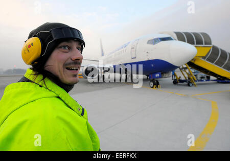 Pardubice, Czech Republic. 21st Jan, 2015. The arrival of Transaero Airlines UN 361 from Moscow is seen at the airport - Stock Photo
