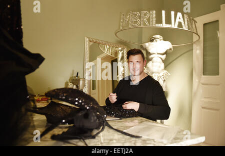 Berlin, Germany. 15th Jan, 2015. German fashion designer Matthias Maus poses in the studio of his Label MBrilliant - Stock Photo