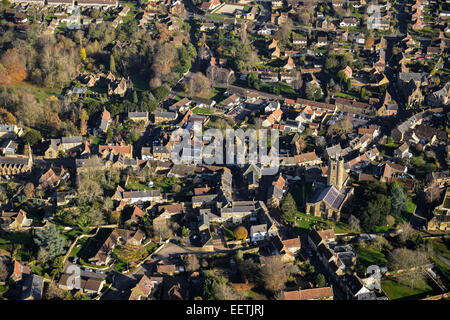 An aerial view showing the centre of the Somerset village of South Petherton - Stock Photo