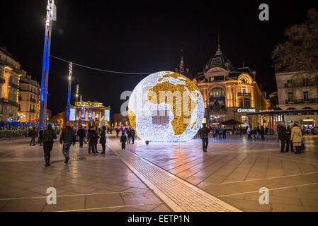 Illuminated globe at Place de la Comedie during Christmas time, Montpellier, France - Stock Photo
