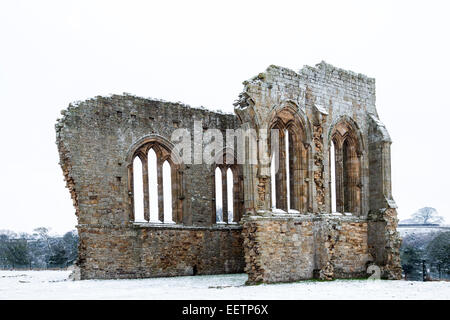 The Remains of Egglestone Abbey Near Barnard Castle in Winter Teesdale County Durham UK - Stock Photo