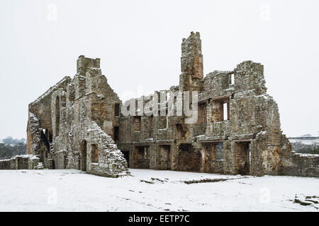 The Remains of the Monks Day Room and Dormitory Area of Egglestone Abbey Near Barnard Castle County Durham in Winter - Stock Photo