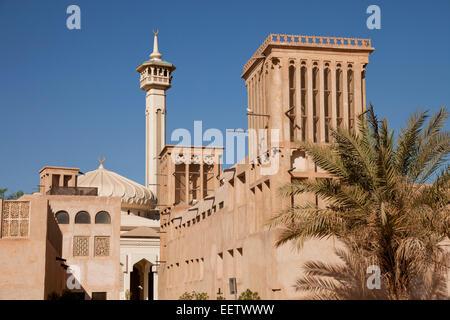 historic Bastakia quarter and Bastakia Mosque in Dubai, United Arab Emirates, Asia - Stock Photo