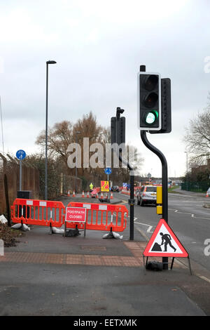 Road Works And Signs At Traffic Lights Near The Rolls