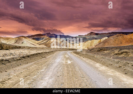 Scenic view over multicolored badlands at Twenty Mule Team Canyon, Death Valley National Park, California, USA - Stock Photo