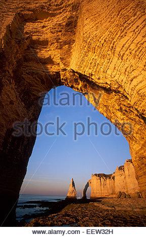 Etretat cliffs, pays de Caux, Seine-Maritime, France. Legend of France - Stock Photo