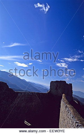 Cathare fortress of Montsegur, Ariege, France. Legend of France - Stock Photo