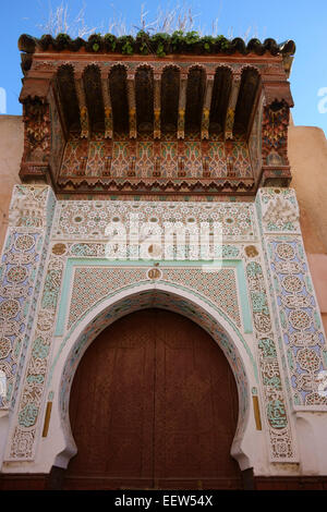 Beautifully decorated door in the Medina of Meknes, one of the imperial cities in Morocco - Stock Photo