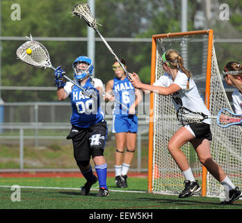 High school girl's Lacrosse action in CT USA - Stock Photo