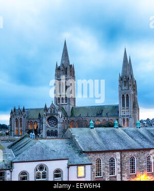 Dusk looking over the rooftops to the cathedral in Truro, Cornwall - Stock Photo