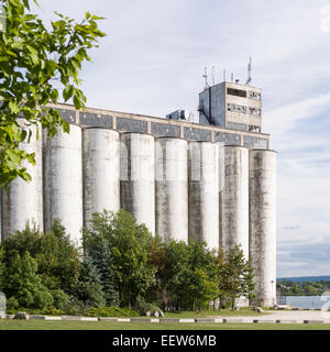 Abandoned Collingwood Terminal. This huge silo complex dominates the harbour area of the town of Collingwood. - Stock Photo