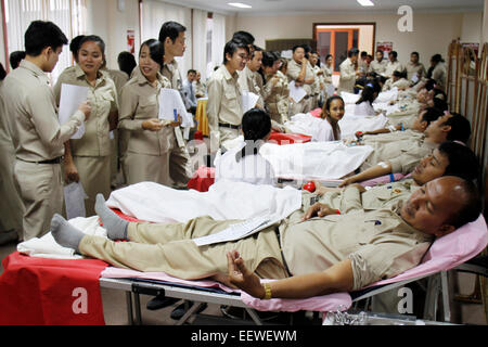 Phnom Penh, Cambodia. 22nd Jan, 2015. People donate blood in Phnom Penh, Cambodia, Jan. 22, 2015. Some 300 staff - Stock Photo