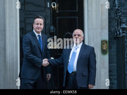 Prime Minister David Cameron meets Dr Haider Al-Abadi the prime Minister of Iraq at Number 10 Downing Street - Stock Photo