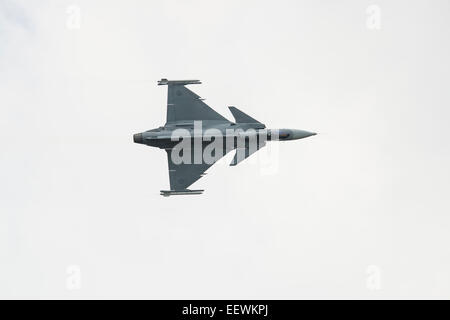 Saab JAS39C Gripen Fighter Jet of the Swedish Air Force F7 Squadron displays at Fairford during the 2014 RIAT - Stock Photo