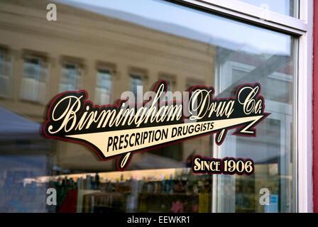 Birmingham Drug Store in Hamlet NC, front window reflection - Stock Photo