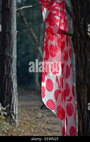 red scarf hanging on tree - Stock Photo