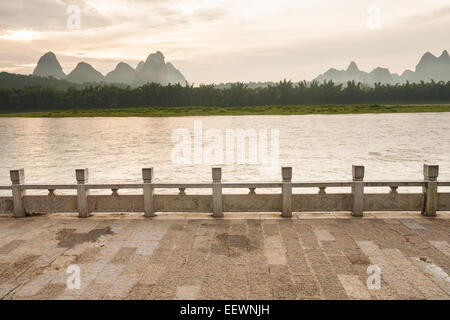 Li river landscape and empty street from yangshuo - Stock Photo