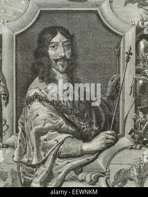 Louis XIII (1601-1643). King of France. Portrait. Engraving in 'La Historia Universal', 1885. - Stock Photo