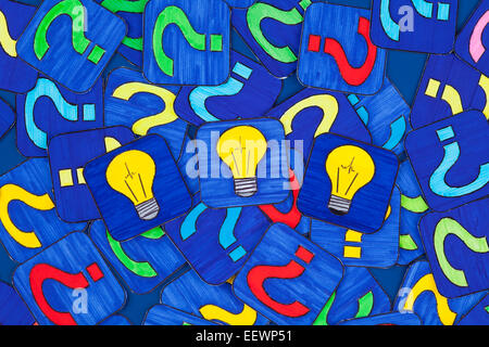 Three yellow light bulbs and a lot of question marks on blue background. Pictures drawn by me. - Stock Photo