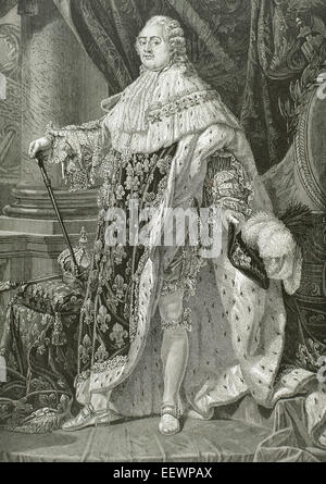 Louis XVI (1754-1793). King of France. Portrait. Engraving, 19th century. - Stock Photo
