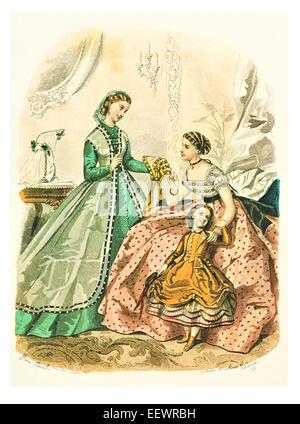 La Mode Illustree 1863 Victorian era period costume fashion dress gown gowns skirt veil cuff frills muslin cap embroidery - Stock Photo