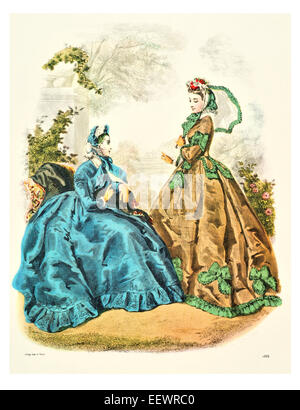 La Mode Illustree 1864 Victorian era period costume fashion dress gown gowns skirt veil cuff frills muslin cap embroidery - Stock Photo
