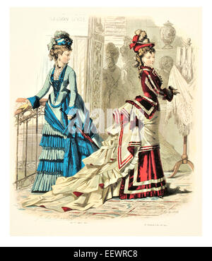 La Mode Illustree Victorian era period costume fashion dress gown gowns skirt veil cuff frills muslin cap embroidery - Stock Photo