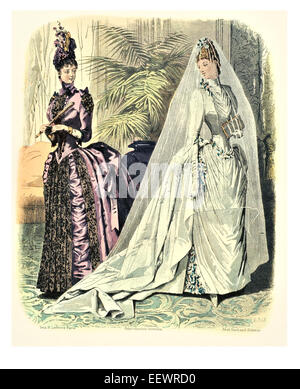 La Mode Illustree Victorian era period costume fashion dress gown gowns skirt veil cuff frills muslin cap wedding - Stock Photo