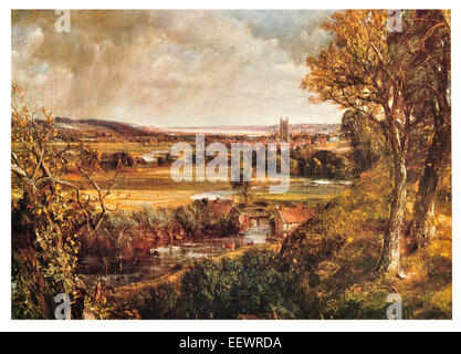 Dedham Vale John Constable Area of Outstanding Natural Beauty  Essex Suffolk east England River Stour 1802 cathedral - Stock Photo