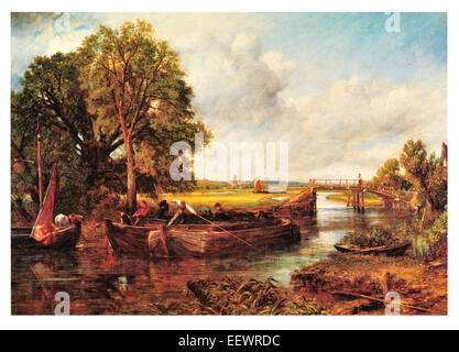 View on the Stour John Constable Sussex River barge merchant vessel boat trade bridge barge pole sail sailing - Stock Photo