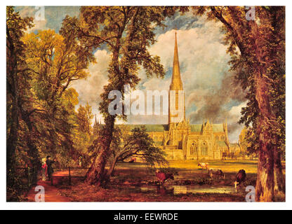 Salisbury Cathedral John Constable Church of the Blessed Virgin Mary Anglican spire Magna Carta Bishop's Garden - Stock Photo