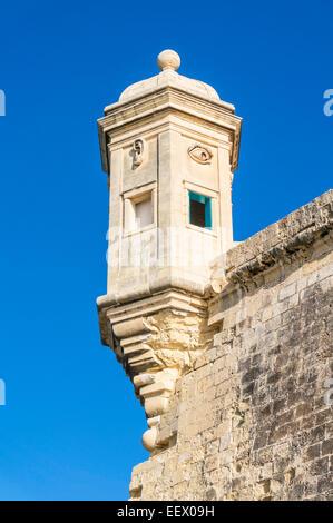 Vedette watchtower or gardjola Safe Haven Garden Senglea Malta EU Europe - Stock Photo
