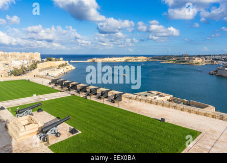 Upper Barrakka Gardens and Saluting Battery overlooking the Grand Harbour Valletta Malta EU Europe - Stock Photo