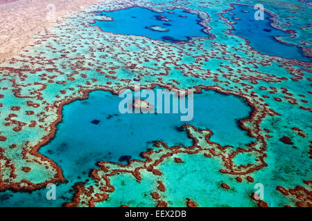 Aerial view of heart-shaped Heart Reef, part of the Great Barrier Reef of the Whitsundays in Coral Sea, Queensland, Australia