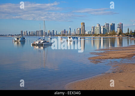 The skyline of Surfers Paradise showing skyscrapers, flats and highrise apartment blocks, Queensland, Australia - Stock Photo