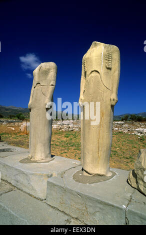 greece, northeastern aegean islands, samos, heraion, hera's temple, statues - Stock Photo