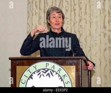 Washington DC, USA. 21st Jan, 2015. United States Secretary of the Interior Sally Jewell urges the U.S. Congress - Stock Photo