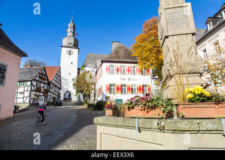 Old town of Arnsberg, a city in the Sauerland region, Germany, river Ruhr - Stock Photo