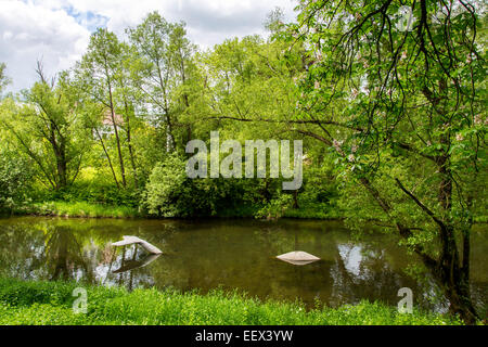 River Ruhr in Arnsberg, Sauerland region,  Artwork 'Ruhr Whale' sculpture in the river - Stock Photo