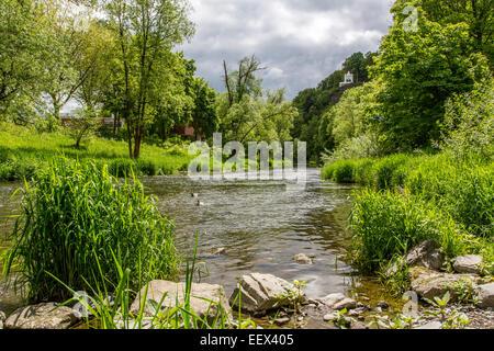 River Ruhr in Arnsberg in Sauerland region, artwork mermaid sculpture in the river - Stock Photo