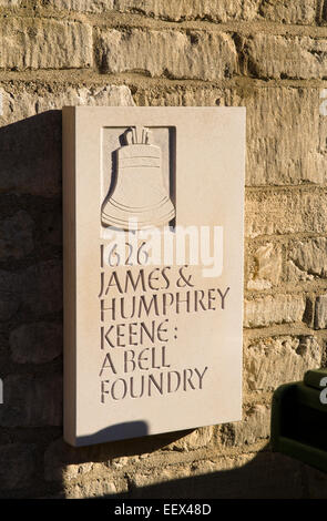 Woodstock a small town in Oxfordshire England UK Keene Bell Foundry sign - Stock Photo