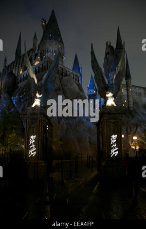 Osaka, Japan. 22nd January, 2015. The entrance of the Hogwarts castle of the movie 'Harry Potter' at Universal Studios - Stock Photo